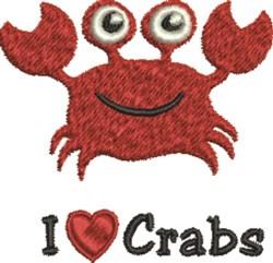 I Love Crabs embroidery design