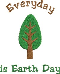 Green Tree Earth Day embroidery design