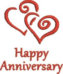Twin Hearts Happy Anniversary embroidery design