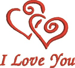 Twin Hearts Love You embroidery design