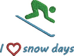 Skiing Love Snow Days embroidery design