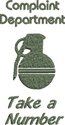 Complaint Grenade embroidery design