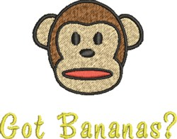 Monkey Got Bananas? embroidery design