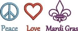 Peace Love Mardi Gras embroidery design
