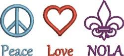 Peace Love NOLA embroidery design