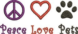 Peace Love Pets embroidery design
