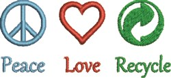 Peace Love Recycle embroidery design