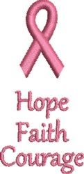 Pink Ribbon Hope Faith embroidery design