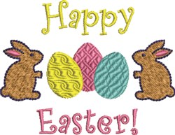 Happy Easter Bunny Eggs embroidery design