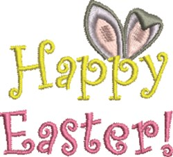 Happy Easter Ears embroidery design