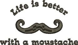 Mustache Better embroidery design