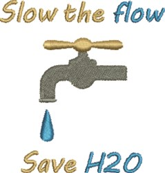 Save H2O embroidery design