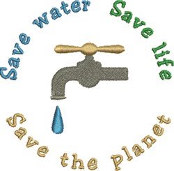 Save Water Life embroidery design