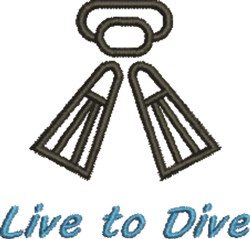 Live To Dive embroidery design
