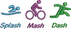 Triathlon Splash Mash Dash embroidery design