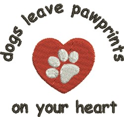 Pawprints On Heart embroidery design