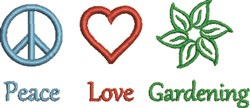 Peace Love Gardening embroidery design