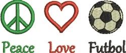 Peace Love Futbol embroidery design