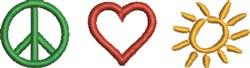 Peace Love Sunshine embroidery design