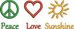 Peace Love Sunshine embroidery design