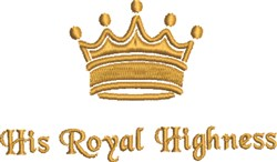 His Royal Highness embroidery design