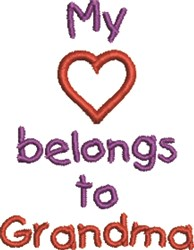 Heart Belongs To Grandma embroidery design