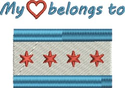 Heart Belongs Chicago embroidery design