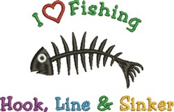 Love Fishing embroidery design