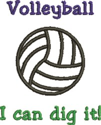 Volleyball Dig It embroidery design