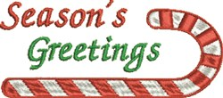Seasons Greetings Candy Cane embroidery design