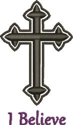 Black Bold Crucifix Believe embroidery design