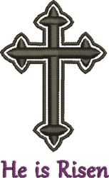 Black Bold Crucifix Risen embroidery design