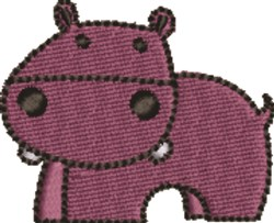 Purple Baby Hippo embroidery design