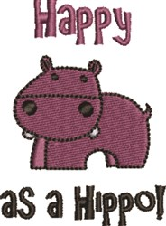 Happy As A Hippo! embroidery design