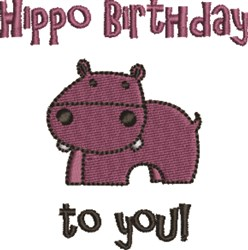 Hippo Birthday To You! embroidery design