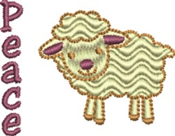 Peace Rippled Lamb embroidery design