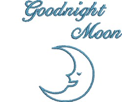 Blue Goodnight Moon embroidery design