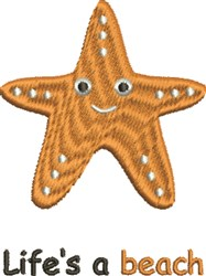 Lifes A Beach Starfish embroidery design
