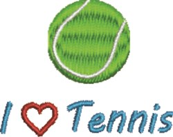 I Love Tennis embroidery design