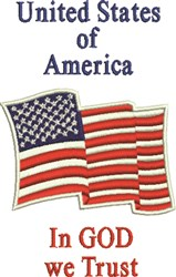 US Flag embroidery design