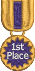 1st Place Medal embroidery design