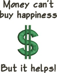 Cant Buy Happiness embroidery design
