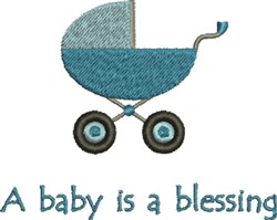 Baby Boy Carriage Blessing embroidery design