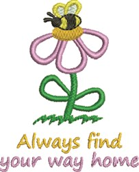 Flower & Bee embroidery design