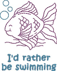 Id Rather Be Swimming embroidery design