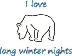 Winter Nights Polar Bear embroidery design