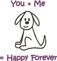 You + Me = Happy... embroidery design