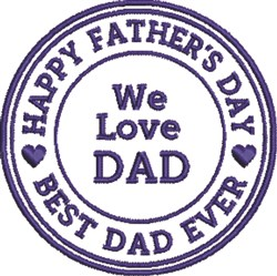 We Love Dad embroidery design