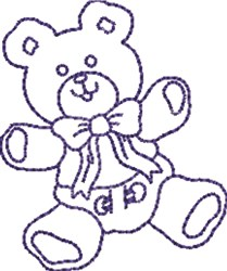 Happy Teddy Outline embroidery design