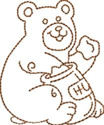 Honey Bear Outline embroidery design